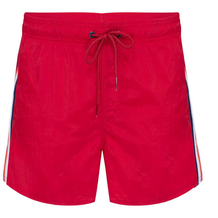 Mens Elastic Waist Swim Trunks Flame Red
