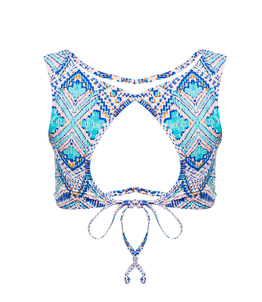 Mexican Oasis Tie Back Crop - Turquoise
