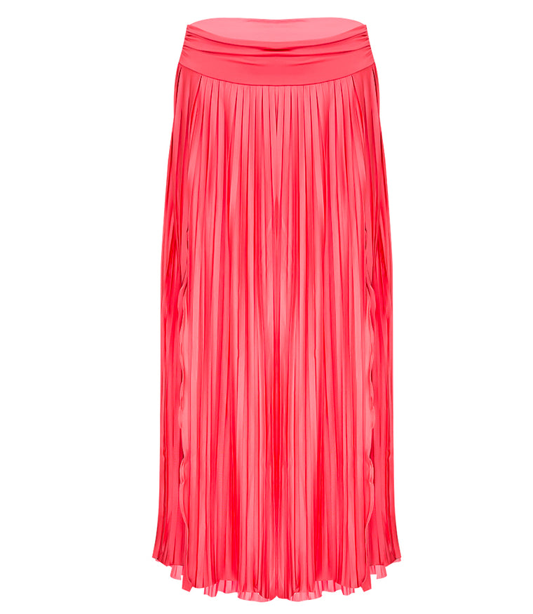 Sunrise Pleated Maxi-Skirt - Rouge