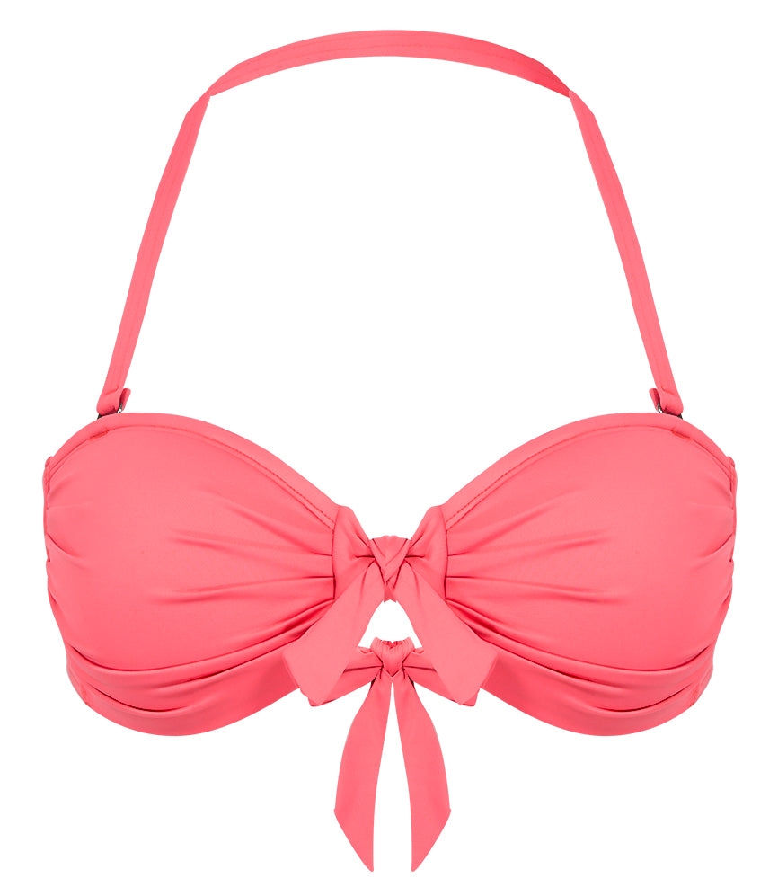 Solid Tie Front Bandeau - Punch