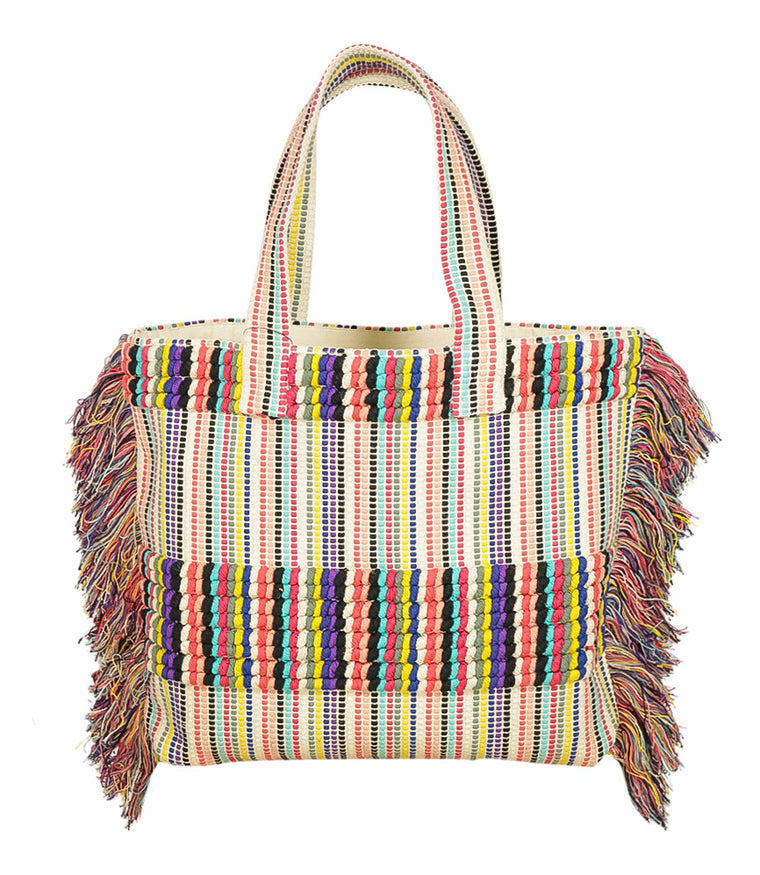 Rainbow Fringe Beach Bag