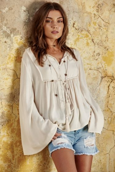 Top Tie Front Bell Sleeves White