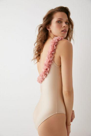 LoveKini Valentina One Shoulder Swimsuit Nude and Dusty Pink