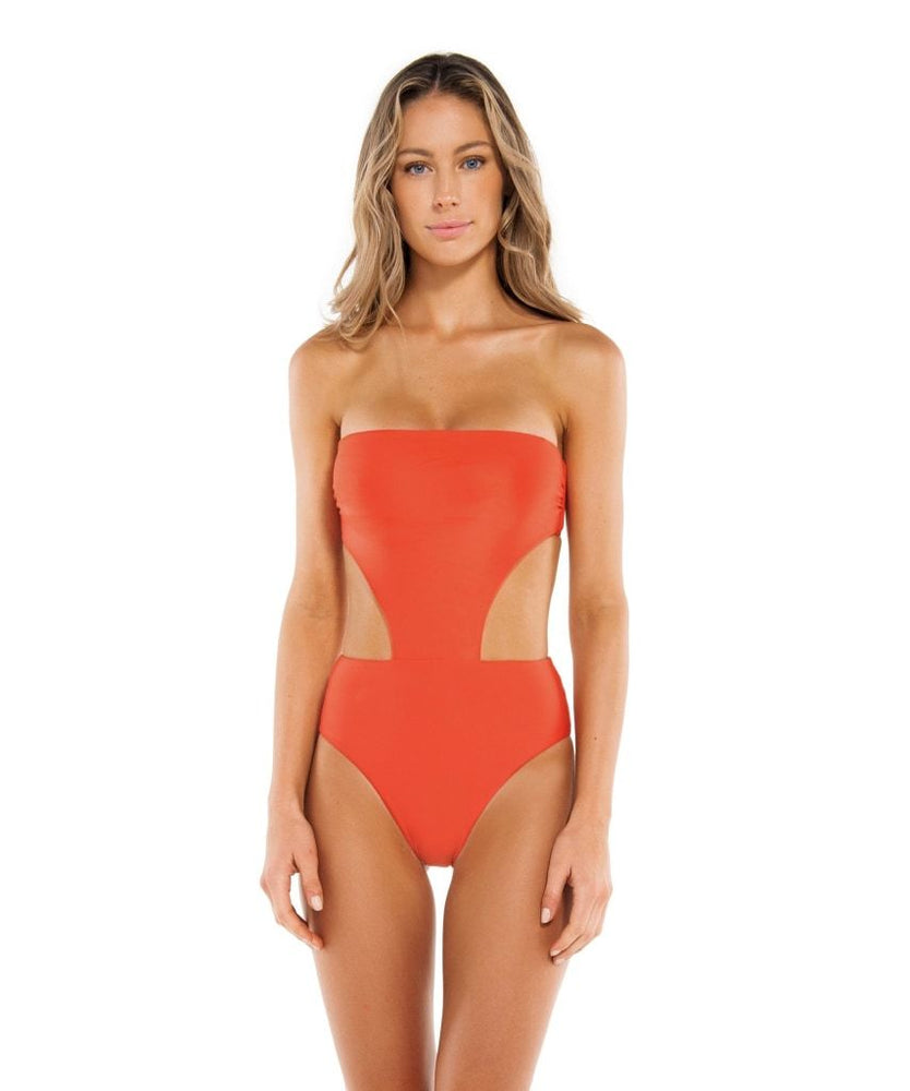 Solid Maite One Piece Coral Brazil Cut