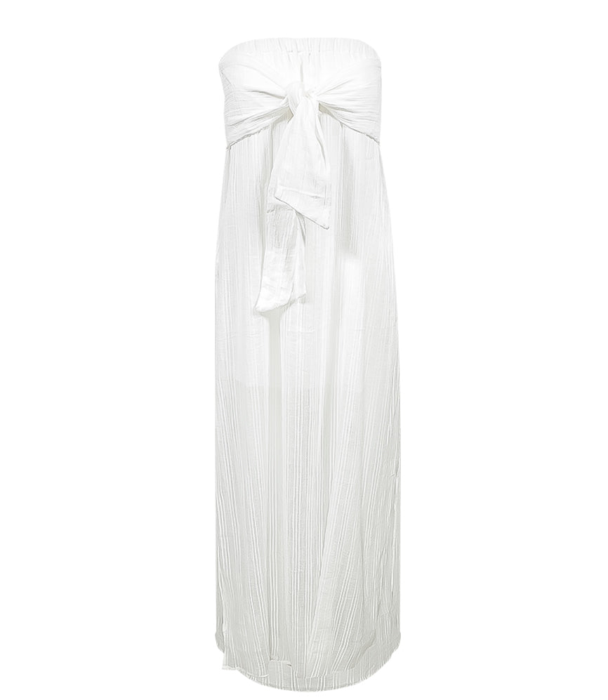 Solid Tess Strapless Dress White