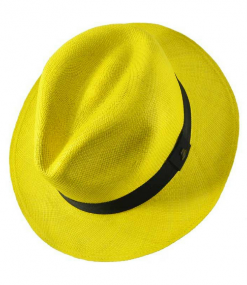 Panama Hat Unisex Classic Yellow with Black Band
