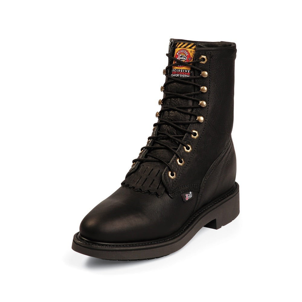 Justin # 763 Men's Footwear 8 In Lacer Black