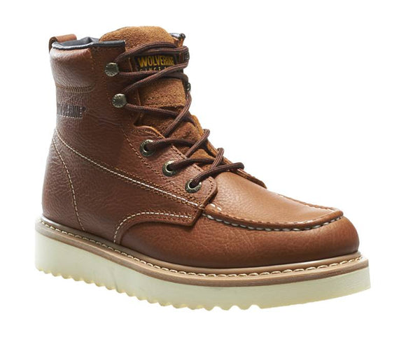 Wolverine #W08288 Men's 6 In Moc Toe Wedge Work Crep Brown