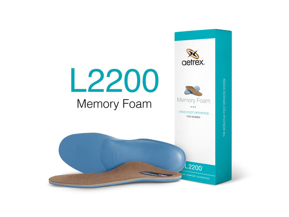 Aetrex L2200 Women's Memory Foam Med/High Arch Support Orthotic Insole