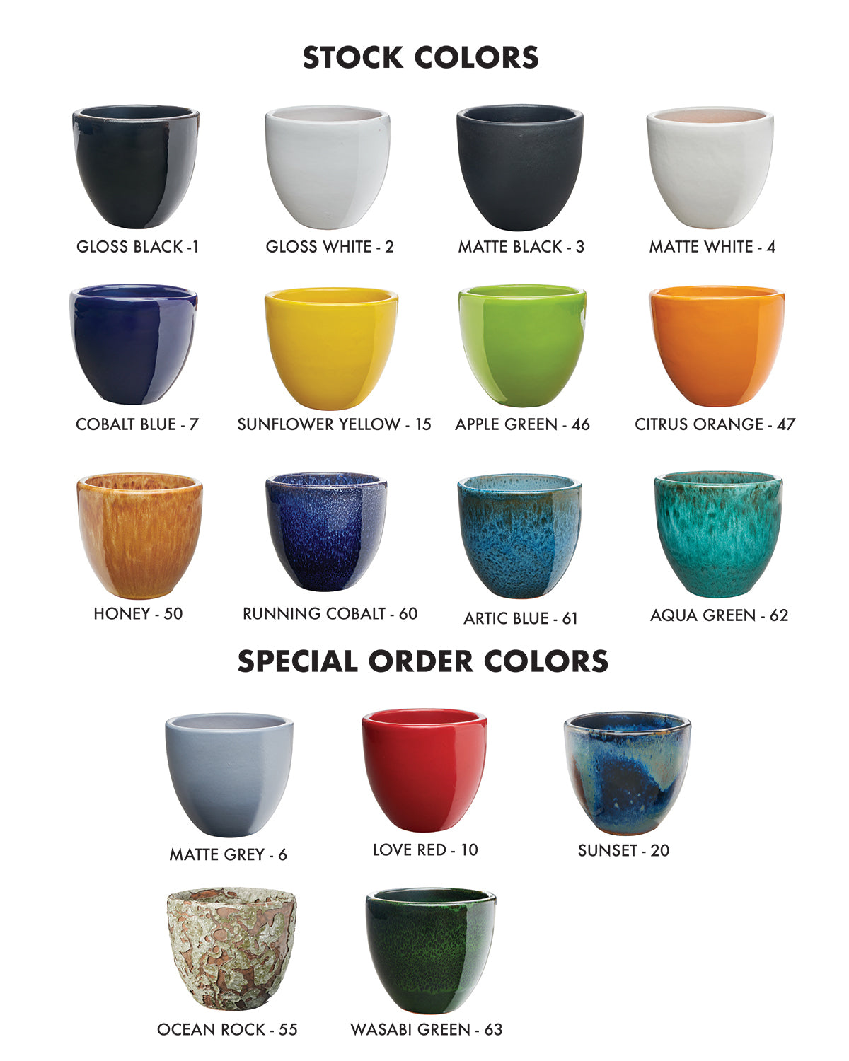 Pottery Mfg. & Dist. Signature Glaze Color Chart