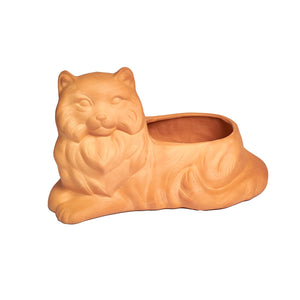 signature buff clay cat planter
