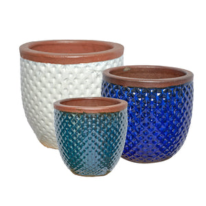 imported vietnam glaze s/3 diamond egg pot