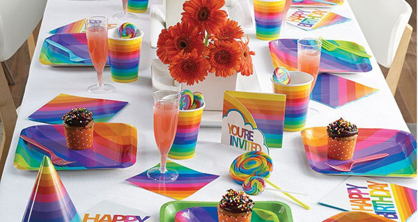 buy rainbow party supplies online at build a birthday nz
