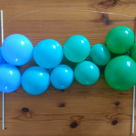 Set of blue and green balloons for customised DIY balloon mini garland