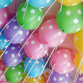 Helium Filled Polka Dot Latex Balloons