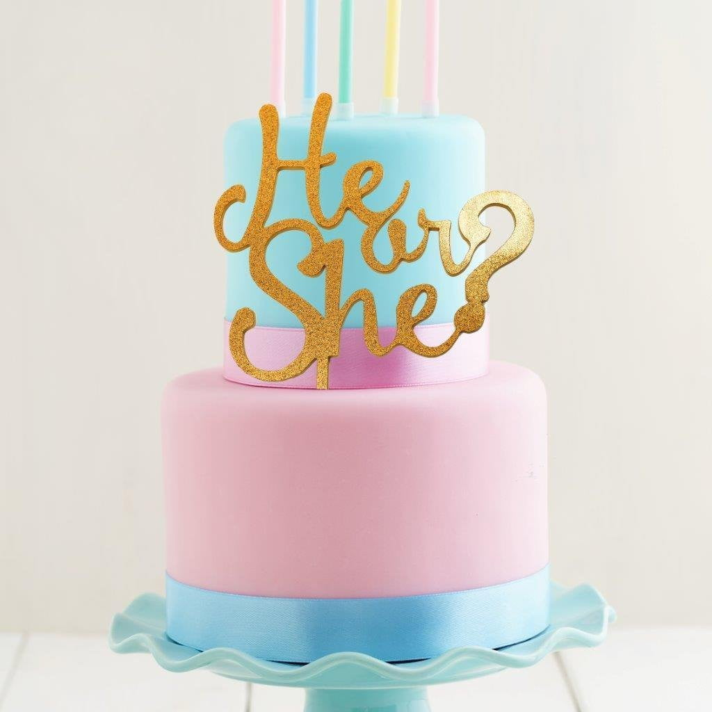 Gold Glitter He or She? Cake Topper – Build a Birthday