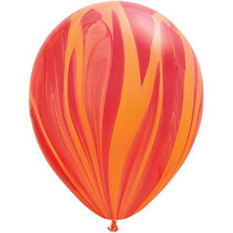 Qualatex | Red Orange Marble Balloon | Orange Marble Balloon | Marble Party