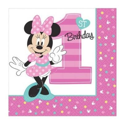 Amscan | Minnie Mouse Fun to be One Napkinis - Lunch | Minnie Mouse Party Theme & Supplies