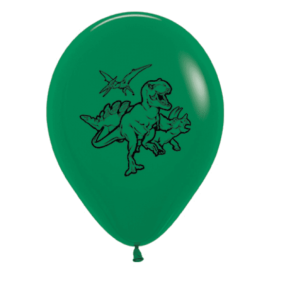 Sempertex | Forest Green Dinosaur Balloons - Pack of 6 | Dinosaur Party Theme & Supplies |