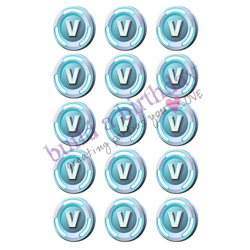 V-Bucks Edible Cupcake Toppers | Fortnite Party Supplies
