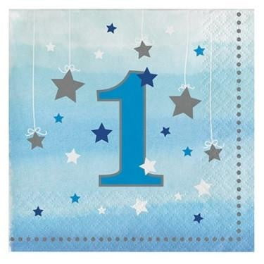 Party Creations | One Little Star Blue Napkins | 1st Birthday Party Theme & Supplies