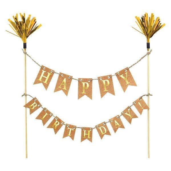 Happy Birthday Bunting Cake Topper | Kraft Cake Decorations