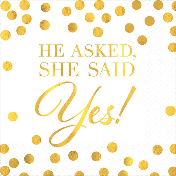 She Said Yes Napkins | Bridal Shower Supplies | Engagement Party Supplies