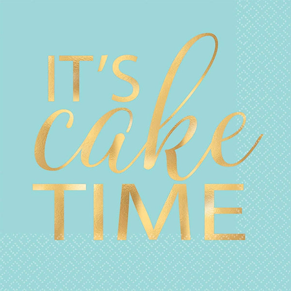 It's Cake Time Napkins | Mint Party Supplies