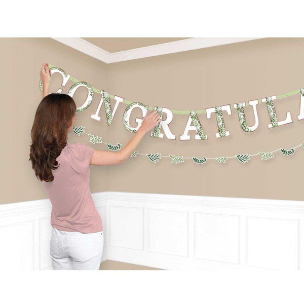 Love & Leaves Congratulations Banner | Bridal Shower Supplies