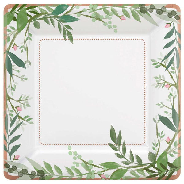 Love & Leaves Plates | Botanical Plates | Botanical Party Supplies