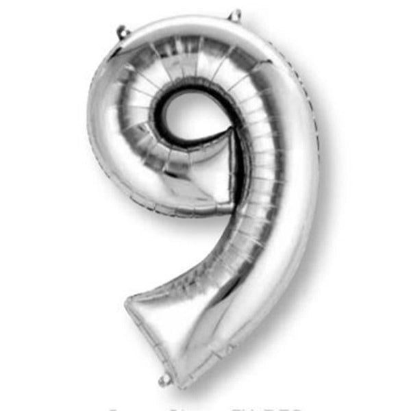 Anagram Silver Jumbo Number Foil Balloon - 9