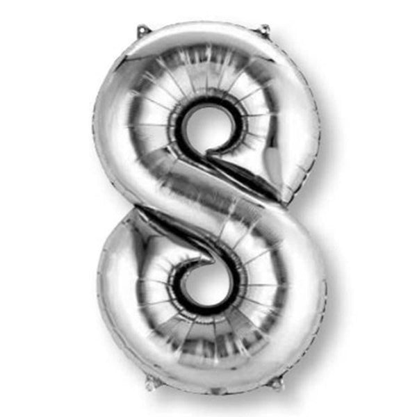 Anagram Silver Jumbo Number Foil Balloon - 8