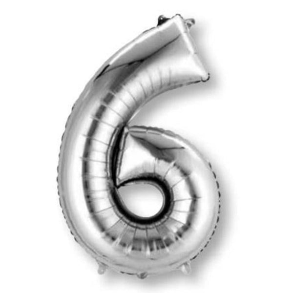 Anagram Silver Jumbo Number Foil Balloon - 6