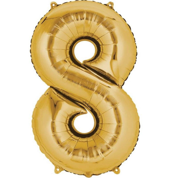 Anagram Gold Jumbo Number Foil Balloon - 8