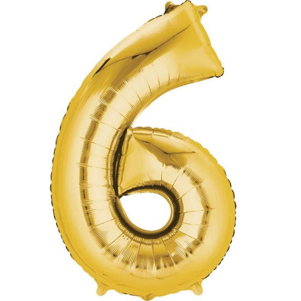 Anagram Gold Jumbo Number Foil Balloon - 6