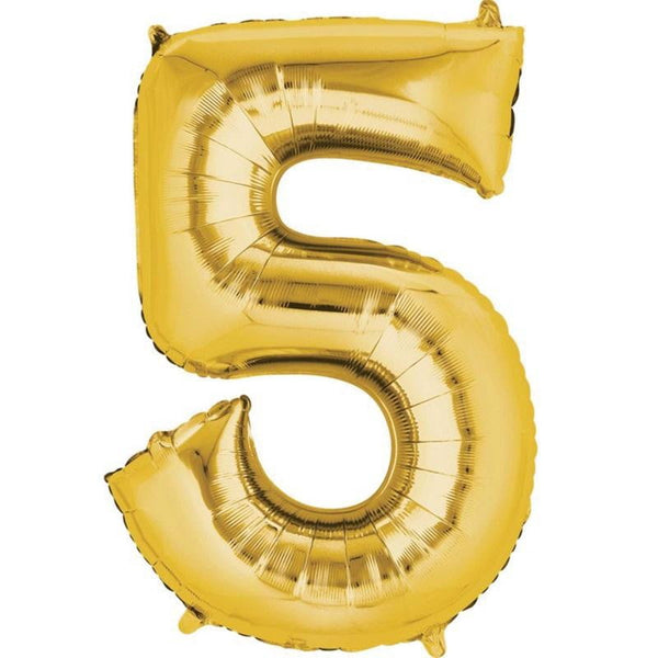Anagram Gold Jumbo Number Foil Balloon - 5