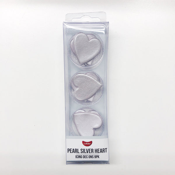 Edible Silver Hearts | Silver Cake Decorations