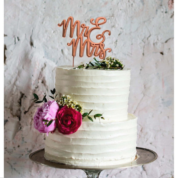 Sugar Crafty | Rose Gold Plated Mr & Mrs Cake Topper | Wedding Party Theme & Supplies