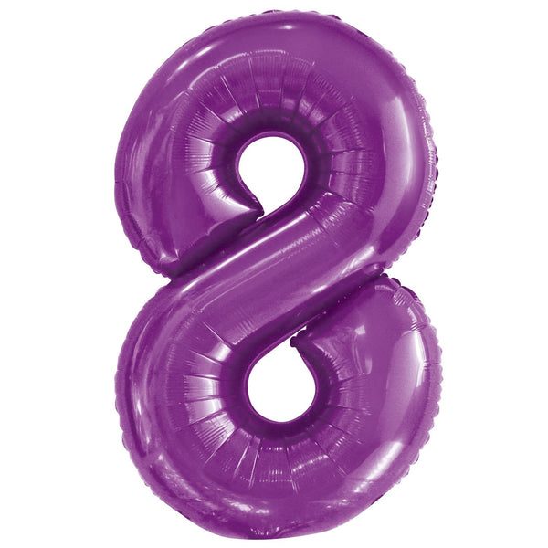 Giant Pretty Purple Number Foil Balloon - 8
