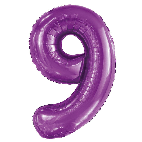 Giant Pretty Purple Number Foil Balloon - 9