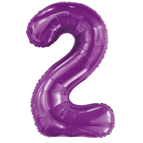Giant Pretty Purple Number Foil Balloon - 2