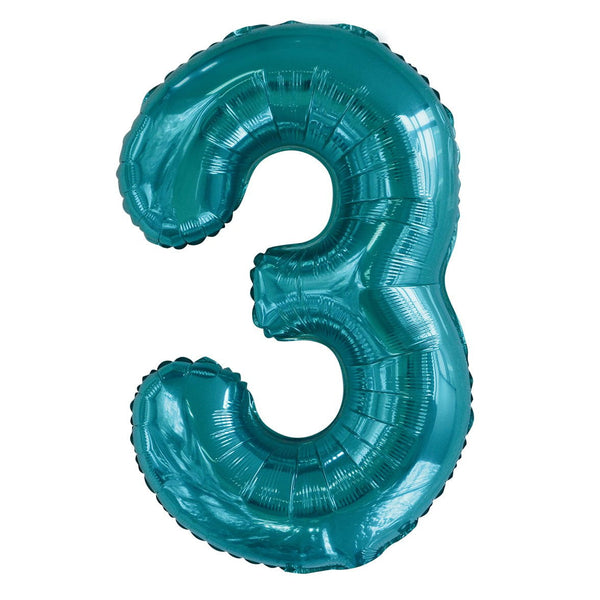 Giant Caribbean Teal Number Foil Balloon - 3