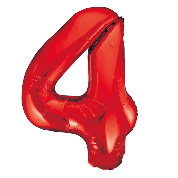 Giant Red Number Foil Balloon - 4