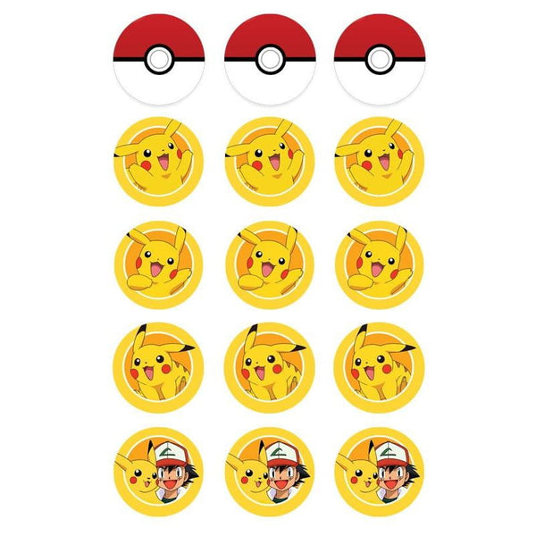 Pokemon Pikachu Edible Cupcake Toppers | Pikachu Party Supplies