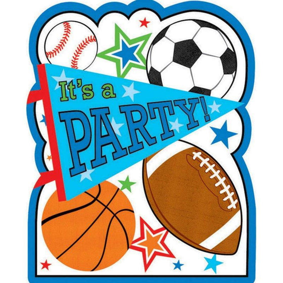 Amscan | Sports Party Postcard Invitations | Sports Party Theme & Supplies