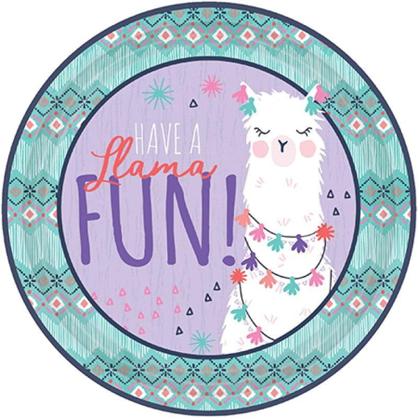 Amscan | Llama Fun Plates - Dinner | Llama Party Theme & Supplies