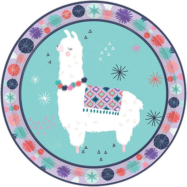 Amscan | Llama Fun Plates - Lunch | Llama Party Theme & Supplies