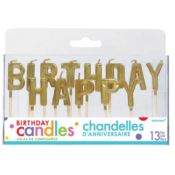 Gold Happy Birthday Candles | Gold Cake Decorations