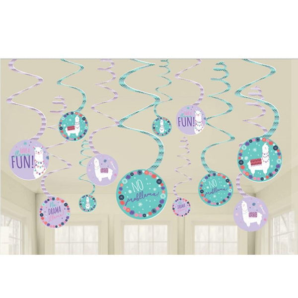 Amscan | Llama Fun Hanging Swirl Decorations | Llama Party Theme & Supplies