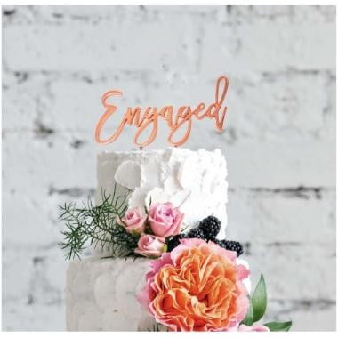 Sugar Crafty | Rose Gold Plated Cake Topper - Engaged